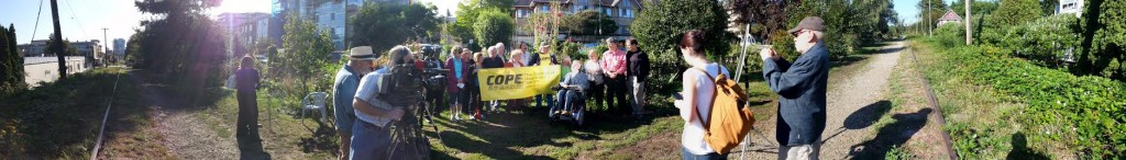 Panorama of Tim's Sept. 4th press conference at the Arbutus Corridor