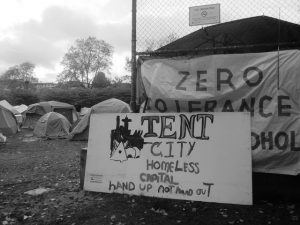 Vancouver tent city, Oppenheimer Park in 2014. Homelessness numbers have only increased under Vision rule -- they are now the highest in Vancouver's history, despite Gregor Robertson's campaign promises to end homelessness.